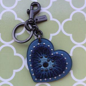 Coach Studded Heart Key Chain / Bag Charm 💙